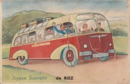 C2-04) RIEZ  - JOYEUX SOUVENIR - AUTOBUS - CARTE A SYSTEME DEPLIANT 10 PETITES VUES - (3 SCANS) - France