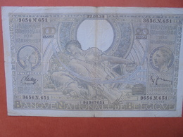 BELGIQUE 100 FRANCS 22-3-38 CIRCULER (B.4) - [ 2] 1831-... : Royaume De Belgique