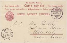 Schweiz Postkarte P 15F Ziffer Von KREUZLINGEN 19.7.1886 N. LICHTENTHAL 20.7.86 - Non Classés