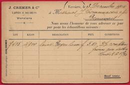 """CPA Carte Commerciale VERVIERS Belgique - Maison J. CREMER & Cie """"Laines & Déchets"""" - Verviers"""
