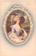 ¤¤  -    Illustrateur   -  Portrait D'une Femme Dans Un Médaillon  -  Carte Gauffrée    -  ¤¤ - Illustrateurs & Photographes