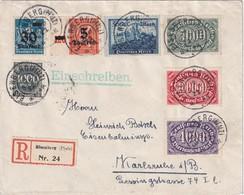 ALLEMAGNE 1923 LETTRE RECOMMANDEE DE EISENBERG AVEC CACHET ARRIVEE KARLSRUHE - Infla