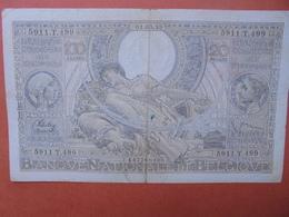 BELGIQUE 100 FRANCS 1-3-39 CIRCULER (B.4) - [ 2] 1831-... : Belgian Kingdom
