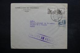 ESPAGNE - Enveloppe Du Consulat De Colombie Pour Paris Via Gibraltar En 1937 , Cachet De Censure - L 32544 - Marques De Censures Républicaines