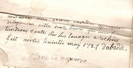 Vieux Papier Du Béarn, 1727, Marie De Navarre, D'Orthez Reçoit 12 £ De L'apothicaire Dabadie - Documents Historiques