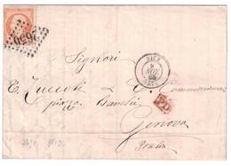 1865 - LOSANGE GC 2656 CAD NICE Sur LETTRE LAC Pr GENOVA GENES ITALIE AFFRANCHIE NAPOLEON 23 GRIFFE PD ROUGE CHARCUTERIE - Marcofilie (Brieven)