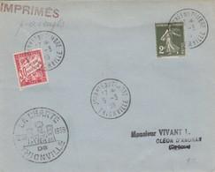 LETTRE. 1939. SEMEUSE 2c N° 278 TARDIF POUR IMPRIMÉ. TAXE 30c DUVAL - Marcophilie (Lettres)