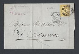 Sage N°92 Sur Lettre Correspondance Négoce Du Café TAD Le Havre 29/9/1882 Vers Anvers - Marcophilie (Lettres)