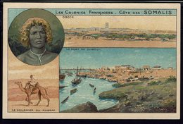"Somalie - CPA ""Chocolats & Thé De La Cie Coloniale"" Multivues - Obock - Port De Djibouti - Courrier Du Harrar - B/TB - - Somalia"