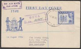 FIJI - NEW ZEALAND 1950 KGVI 1/6 REGISTERED FDC - Fiji (...-1970)