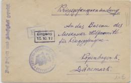 KRIEGSGEFANFENENPOST - 1917 - ENVELOPPE De PRISONNIER RUSSE OFLAG GÜTERSLOH =>BUREAU AIDE MOSCOU à COPENHAGUE (DANEMARK) - Covers & Documents