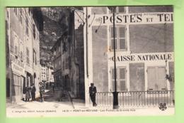 PONT En ROYANS - Bureau De Poste Et Caisse Nationale - Boucherie FAISANT - Beau Plan Animé - Ed. Artige Aubenas -2 Scans - Pont-en-Royans