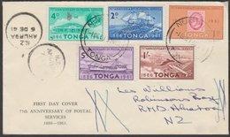 TONGA - NEW ZEALAND 25th ANNIVERSARY OF POSTAL SERVICE FDC 4x AHUROA A-CLASS - Tonga (...-1970)
