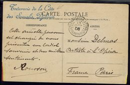 """Cote Des Somalis - 1908 """"Trésorerie De La Cote Des Somalis Djibouti""""  N° 57 Sur CPA Femmes Dankali En Tenue De Brousse - - Covers & Documents"""