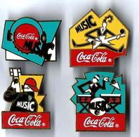 C67 - COCA COLA MUSIC - 4 Pin's Différents - Verso : R THE COCA COLA COMPANY - Coca-Cola