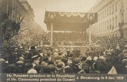 CARTE POSTALE PHOTO ORIGINALE ANCIENNE  M POINCARE PRESIDENT DE LA REPUBLIQUE & M CLEMENCEAU STRASBOURG 9 DECEMBRE 1918 - Photographie
