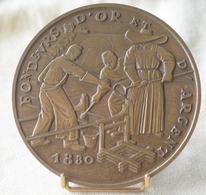 SUPERBE ET RARE MÉDAILLE DE TABLE FONDEURS D'OR ET D'ARGENT 1973 Bronze MDP - Diamètre 113 Mm - 550gr - Monarchia / Nobiltà
