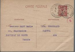 1 Entier Oblitération De Fontenay Le Comte Avec Cachet De Contrôl N° 2 - Enteros Postales