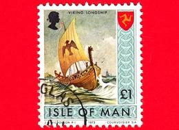 Isola Di MAN - Usato - 1973 - Paesaggi - Veliero - Viking Longship - 1 £ - Isola Di Man