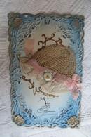 Cpa Sainte Catherine  Brodée Fleur Chapeau - Sainte-Catherine