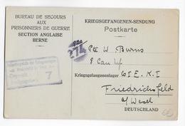 1917 - CP Du BUREAU De SECOURS AUX PRISONNIERS SECTION ANGLAISE De BERNE (SUISSE) CROIX-ROUGE CANADA => FRIEDRICHSFELD - Storia Postale