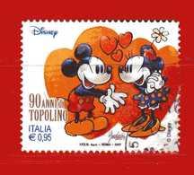 Italia ° -  2017 - 90 Anni Di Topolino, Topolino E Minnie .  Usato  .    Vedi Descrizione - 6. 1946-.. Repubblica