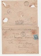 N° 22 Et 23 Sur Enveloppe Chargée Départ Brezolles  11/07/1866 Pour Vendôme - 1863-1870 Napoléon III Lauré