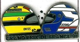 Pin's F1 Formule 1 Grand Prix De France 1991 Casque Prost Senna - Automobile - F1