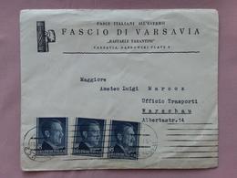 REGNO - Lettera Inviata A Ufficiale Italiano Dalla Sede Del Fascio Di Varsavia + Spese Postali - Storia Postale