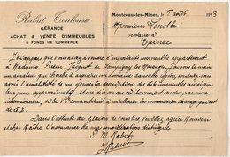 VP15.226 - Lettre - RABUT - TOULOUSE Gérance Achat & Vente D'Immeubles & Fonds De Commerce à MONTCEAU - LES - MINES - Old Professions