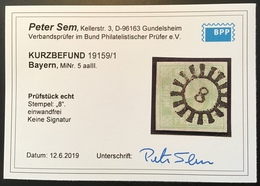 "Bayern Seltene Farbe Mi. 5 Aa III KB Sem BPP: 1850 9 Kr Mattblaugrün ""8"" AMBERG Oberpfalz (Baviére Bavaria - Bayern (Baviera)"