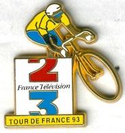 Pin's Média Télévision France 2 France 3 Tour De France 1993 Vélo Cyclisme Cycling (signé Decat) - Cycling