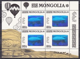 Mongolia, 1993 - 80t Dirigibile Flight Over Ulan Bator, Foglietto - Nr.2139 MNH** - Mongolia