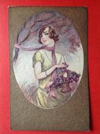 1930 - ART DECO FEMME AVEC FLEURS - DAME MET BLOEMENMAND - Femmes