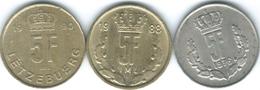 Luxembourg - Jean - 5 Francs - 1976 (KM56) 1988 (KM60.2) 1990 (KM65) - Luxembourg