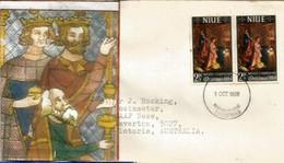 Noel à L île Niue. Nativité, Oeuvre De Federico Fiori (Museo Del Prado, Madrid), Sur Lettre Adressée Australie - Niue