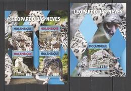 ST2167 2016 MOZAMBIQUE MOCAMBIQUE ANIMALS WILD CATS SNOW LEOPARD 1KB+1BL MNH - Raubkatzen
