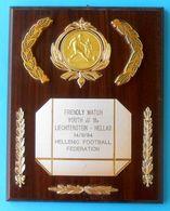 LIECHTENSTEIN Vs GREECE ... 1994. U-18 Football Match Plaque * Soccer Fussball Calcio Foot HELLENIC FOOTBALL FEDERATION - Apparel, Souvenirs & Other