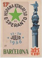 AKEO Card About 17th Spanish Esperanto Conference In Barcelona 1956 - Hispana Esperanto Kongreso - Special Cancellation - Esperanto