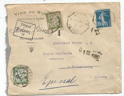 SEMEUSE 25C AMBULANT CETTE A AVIGNON 1920 LETTRE POUR ALSACE TAXE 20C + GRIFFE DETAXE STRASBOURG I IV+ TAXE 20C - Lettres Taxées