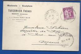 MOHON   Carte à Entête D'Entreprise   Marbrerie-Sculture   TAVERNIER Frères       écrite En 1935 - Francia