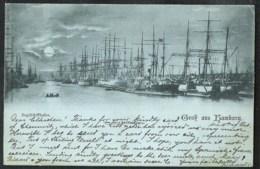 HAMBURG Gruß Aus.. Segelschiffhafen Versanden 1897  MONDSCHEIN Karte - Allemagne