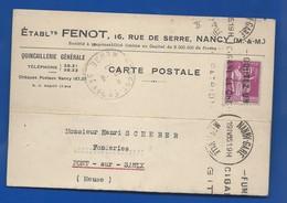 NANCY   Carte à Entête D'Entreprise     Quincaillerie: Ets FENOT  16 Rue De Serre     écrite En 1935 - Nancy