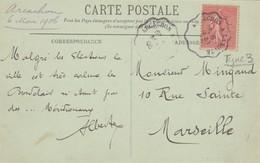 CARTE.1906. BORDEAUX. AMBULANT ARCACHON A LAMOTHE - Railway Post