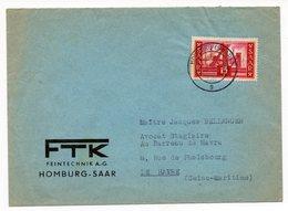 Enveloppe Homburg ( Hombourg,Hombursch)  Saar  De 1956 YT 337 - 1947-56 Protectorate