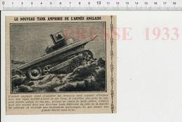 Presse 1933 Tank Amphibie De L'Armée Anglaise 223CHV6 - Unclassified
