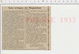 Presse 1933 Mardi-Gras Crêpes Napoléon Joséphine à La Malmaison Crêpe Bien Retournée Argent Vient Avec Santé 223CHV6 - Unclassified