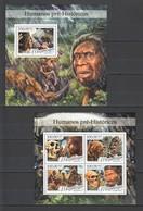 ST2236 2016 MOZAMBIQUE MOCAMBIQUE PREHISTORIC HUMANS ART FAUNA 1KB+1BL MNH - Preistoria