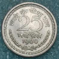 """India 25 Naye Paise, 1960 Mintmark """"♦"""" - Bombay -4437 - Inde"""