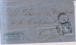 Año 1866 Edifil 81 4c Sello Isabel II Carta Matasellos Rueda De Carreta 9 Alicante Membrete Bartolome Maylin - 1850-68 Reino: Isabel II